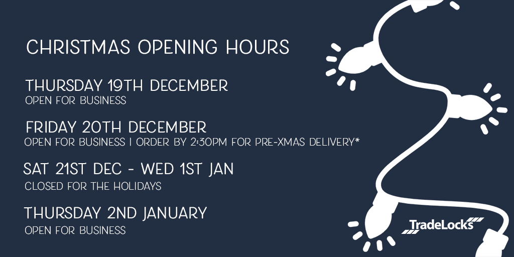 TradeLocks Christmas Opening and Delivery Info